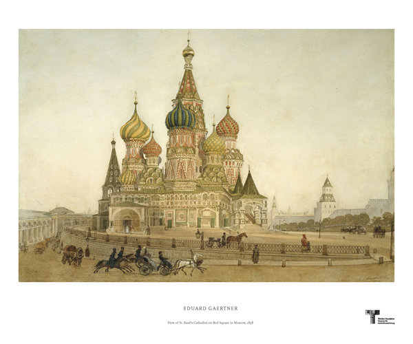 Eduard Gaertner. View of St. Basil's Cathedral on Red Square in Moscow